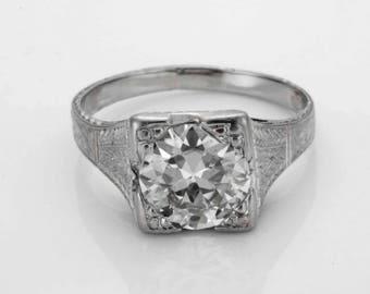 Stunning C1925 Art Deco 1.70ct Diamond Platinum Engagement Ring Size 5.25 Old European Cut R169