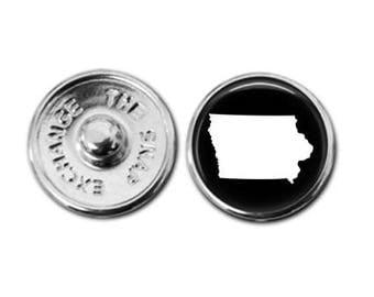 Iowa charm, Iowa jewelry, Iowa map charm, snap button jewelry, button snap jewelry, button jewelry, snap charm jewelry