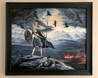 Geirskogul - Valkyrie Overseeing Viking Battle with Crows - Original Artwork by Rebecca Magar
