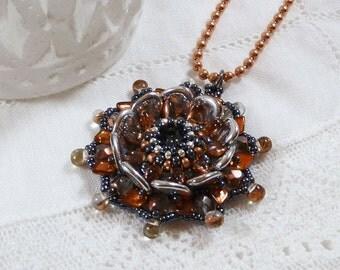 Silver & Copper Flower Necklace, Swarovski Pendant, Bead Flower Necklace, Birthday Gift Idea, Woven Bead Necklace, Ornate, Beadwork Necklace