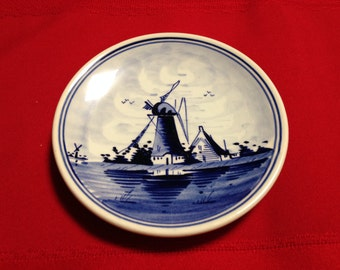 Vintage Delft Blue Hand Painted Holland Small Plate with Wall Hanger
