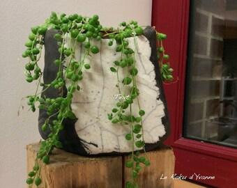 Raku vase - raku ceramic vase - ikebana vase - black and white vase - plant holder
