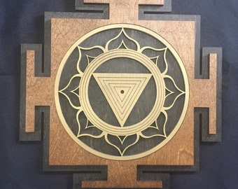 "Kali Yantra 11"" - Brown and Gold with Black Base - Radiant Hearts Item #020002"