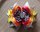 Rainbow Leopard Stacked Boutique Bow