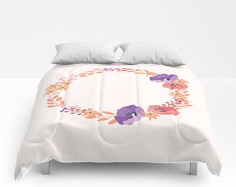 Duvet Cover or Comforter - Different sizes - For Full, Queen and King Size Duvet Inserts, Floral, Bedroom, Pink, Purple, Gift, Abstract