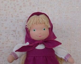 Masha and the bear, soft doll Masha, waldorf doll, fabric doll Masha, textile doll, rag doll Masha, soft doll, cloth doll, personalized doll