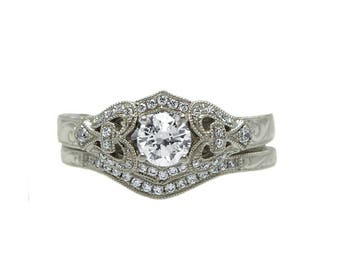 14k White Gold Vintage Inspired Diamond Bridal Set