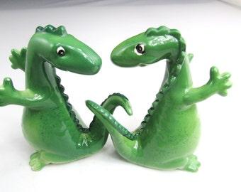 Green Salt And Pepper Mid Century Ceramic, Pottery Dinosaurs