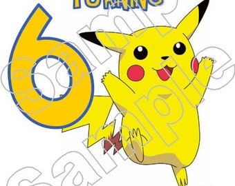 Personalized Pokemon Birthday Iron On Shirt Transfer