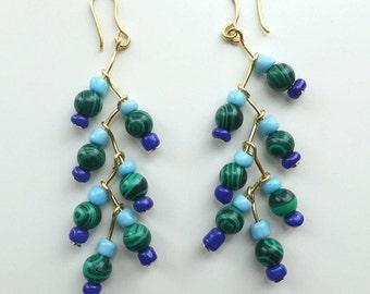 Blue, Green and Turquoise dangle Earrings handmade
