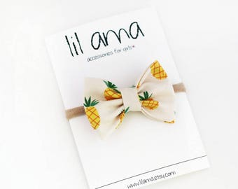 Pineapple Baby Headband - Hair Bow Headband - Pineapple Hair Bow - Nylon Headband -  Infant Headband - Fabric Bow Headband - Baby Bow