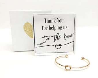 Thank You For Helping Us Tie the Knot Bracelet, Rose Gold, Gold, Silver Love Knot Bracelet, Bridesmaid Gift, Bridal Jewelry, Will You Be My