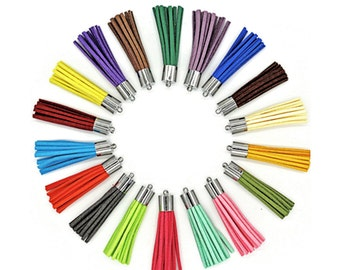 Long Tassels - 50mm Decorative Tassels - 10 or 24 Silver Cap, Assorted Colors, Tassels for Jewelry, Purse Tassel, Key Chain Tassel - TL-4S01