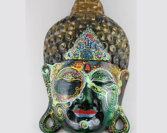 Hand Carved and hand painted Buddha mask - Detailed painted wooden Buddha face - Green