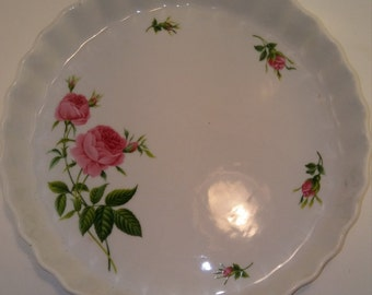 Vintage Christineholm Pie Plate, Quiche Pan, Server, Pearlized White Ceramic w Pink Roses