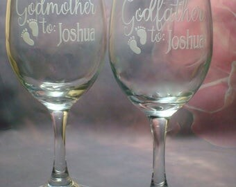 Godfather and Godmother baby footprint Wine Glass Cift Set - Personalized with Baby's Name - Baptism Gift - Godparents - Godparent Gift