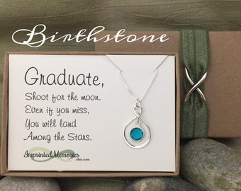 Graduate Gift for Her Graduation - Sterling Silver Birthstone Necklace - High School Graduation Gift Class of 2017 Graduation Gift for Girl