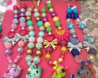bubblegum necklace, unicorn necklace, toki doki inspired necklace, girl necklace, donutella, unicorno, Tokidoki, owl necklace
