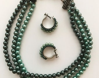 Vintage 3 Strand Green Faux Pearl Necklace and Cuff Earring Set