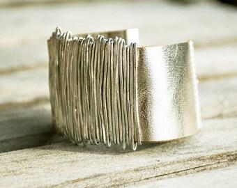 Genuine Leather Bracelet, Silver Bangle, Wrap Bracelet, Leather Bangle, Statement Bracelet, Silver Wrap Bracelet, Charm Cuff Bracelet
