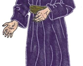Vintage 1950's Purple Shepherd Felt Board Applique 3-D Details 11 Inches Long