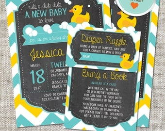 Rubber Duck Baby Shower Invitation, Rubber Duck Invitation, Rubber Duck, Yellow, Teal, Chevron | DIY