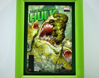 Unique item. Framed The Incredible Hulk, Marvel comic book imagary. Hand finished Frame in green on green float mount.