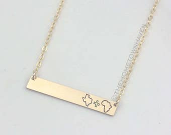 Long Distance Relationship Necklace - Gold bar necklace, state necklace, friendship necklace