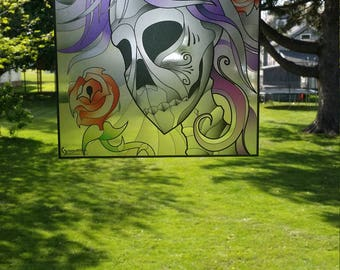 """Skull and Roses """"Stained Glass"""" Style WINDOW CLING"""