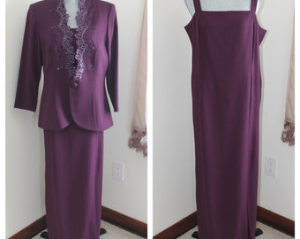 90s Plum Maxi Dress with Jacket by Karen Miller Size 16 Formal Evening Gown Beaded Sequins