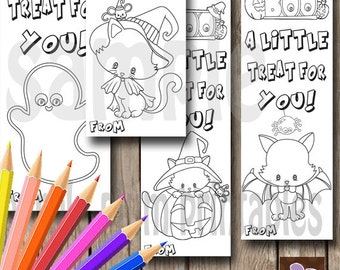 instant download halloween bookmarks pumpkin boo class treats print at home - Halloween Bookmarks To Color