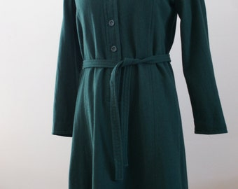 Army Green Pure Virgin Wool Vintage Long Sleeve Shirt Dress by Casuals Unlimited Size Medium Size Large M-874