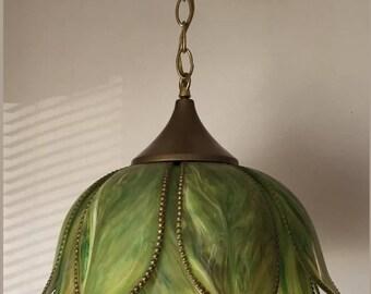 Vintage Green Tulip Pendant Light Hollywood Regency Mid Century