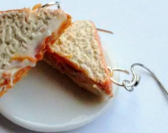 Fluffer Nutter Sandwich Earrings, Miniature Food Jewelry, Inedible Jewelry, Peanut Butter and Fluff Sandwich Jewelry, Kid's Food Jewelry