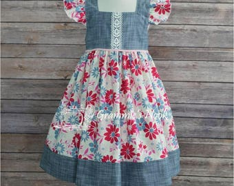 Girls Summer Dress, Floral Print Dress, Chambray and Floral Dress, Special Occasion, Party Dress, Toddler Dress, 4T Ready to Ship
