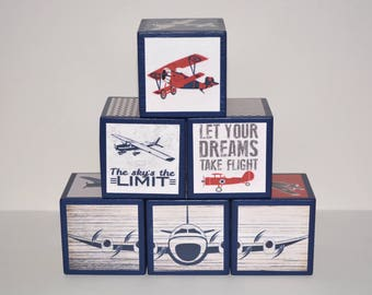 Airplane Baby Shower-Personalized Wooden Blocks-Vintage Airplane Nursery-Wooden Photo Blocks-Personalized Nursery Decor-Airplane Blocks
