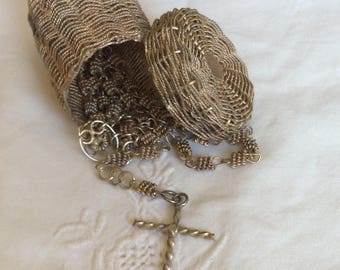Vintage Silver Rosary with Matching Basket 1940s
