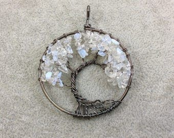 "2"" (50mm) Gunmetal Plated Copper Wire Wrapped Tree of Life Focal Pendant with Opalite (Glass) Chip Beads - Sold Individually/Random"