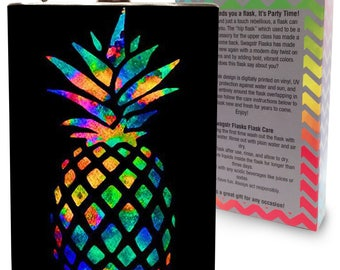 Rainbow Pineapple Flask 8oz Stainless Steel Metal Hip Flasks for Drinking Liquor Whiskey Alcohol Vodka Tequila Wedding Gifts - Gift Box