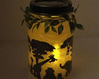 Animal Safari Mason Jar Lantern - Safari Animal Luminaire - African Plains Flameless Votive Holder - Safari Animal Mason Jar Nightlight
