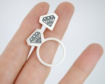 Pendientes de plata, pendientes diamante, pendientes planos, pendientes modernos, pendientes geométricos,