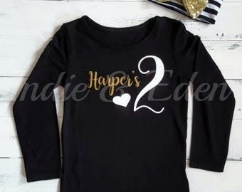 2nd Birthday Two Baby Gold Black Girls T Shirt Tshirt Top Cake Smash Photo Prop bow headband