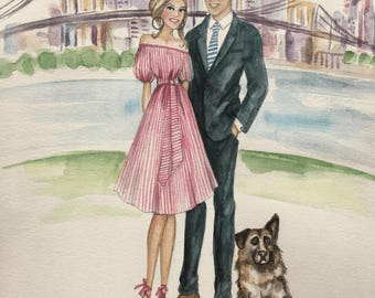 Custom Couple Portrait/ Custom Wedding Portrait / Custom Bridal Portrait/ Watercolor Portrait / Wedding Gift