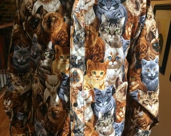Men's Cat Shirt - Button Down Cat and Kitten shirt - made to order cotton