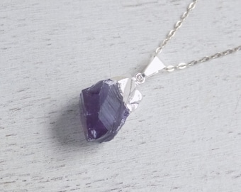 February Birthstone, Raw Amethyst Necklace, Purple Raw Amethyst Pendant, Amethyst Crystal, Purple Necklace, Sterling Silver Necklace, 8-575