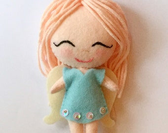 Gingermelon chibi felt doll, handmade, unique item. Wool felt doll