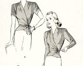 1940s Sewing Patterns – Dresses, Overalls, Lingerie etc 1940s 40s wrap blouse sewing pattern soft gathers draped sleeves bust 34 reproduction $18.50 AT vintagedancer.com