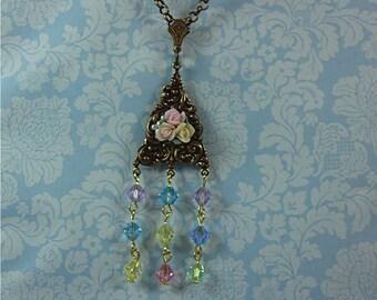 Rose Flower Necklace, Swarovski crystal necklace,