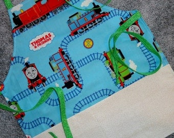 Thomas The Train Childs Apron, Childs Cooking Apron,Childs Crafting Apron, Apron With Pockets,Lined Apron, Thomas The Train, Childrens Apron