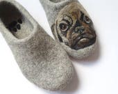 Felt slippers Pug mom gift Dog breed shoes Wool Felt Slippers Personalized Dog boots